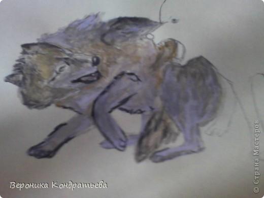 Попробуем нарисовать вот таких волков гуашью?  У меня это первый эксперимент, не судите строго...) В этой картине я немного поиграю с положением хвостов, ну и немного лап.) фото 22