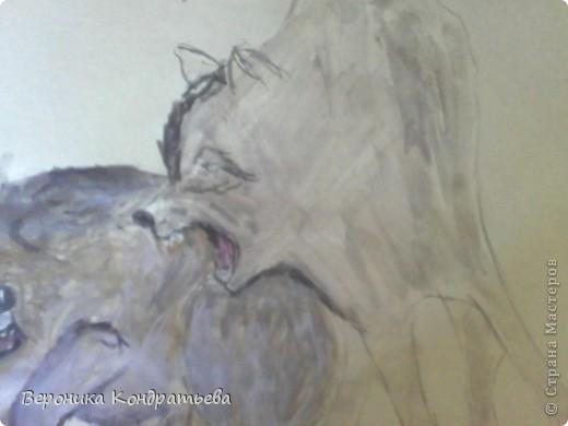 Попробуем нарисовать вот таких волков гуашью?  У меня это первый эксперимент, не судите строго...) В этой картине я немного поиграю с положением хвостов, ну и немного лап.) фото 24