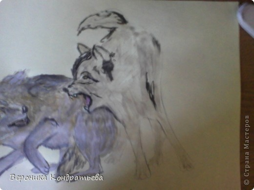 Попробуем нарисовать вот таких волков гуашью?  У меня это первый эксперимент, не судите строго...) В этой картине я немного поиграю с положением хвостов, ну и немного лап.) фото 25