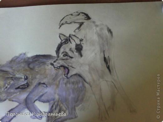 Попробуем нарисовать вот таких волков гуашью?  У меня это первый эксперимент, не судите строго...) В этой картине я немного поиграю с положением хвостов, ну и немного лап.) фото 26