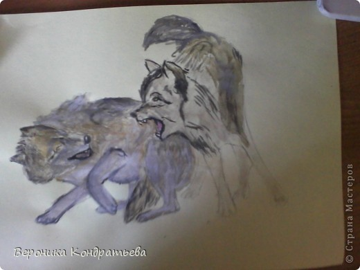 Попробуем нарисовать вот таких волков гуашью?  У меня это первый эксперимент, не судите строго...) В этой картине я немного поиграю с положением хвостов, ну и немного лап.) фото 27