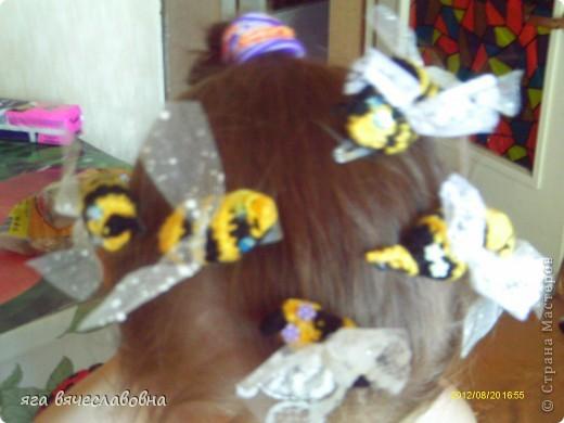 вязаные заколки для волос=целый пчелиный рой фото 1