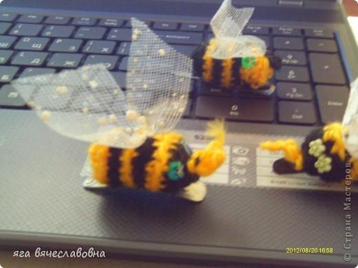 вязаные заколки для волос=целый пчелиный рой фото 2