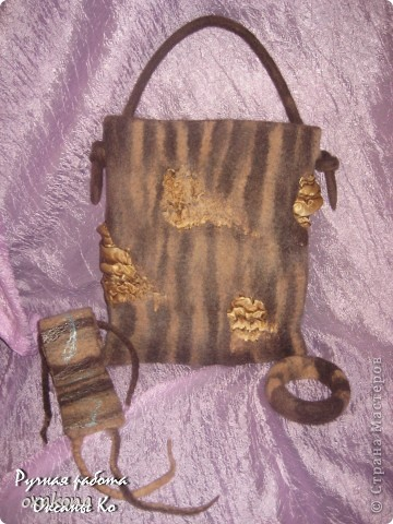 "Комплект из сумочки, пояса и браслета ""Саванна"". Украшено вискозой, на сумочке вставки из атласа. фото 1"