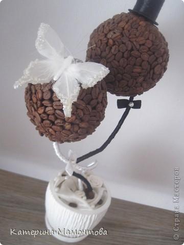 Вдохновившись нежными и изысканными работами Наташеньки http://stranamasterov.ru/user/118439 состворила такой вот топиарий - подарочек ко дню свадьбы: фото 3