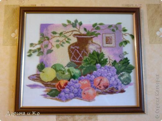 Приветствую всех! Я с новой картиной, вышитой бисером. Теперь это натюрморт на кухню. Размер 40х50 см