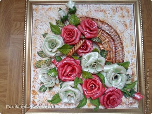Добрый день, всем жителям Страны мастеров! Очень хотелось слепить перевернутую корзинку с розами. Вот что получилось.  фото 1