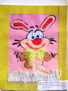 Веселый кролик, аппликация из ниток.