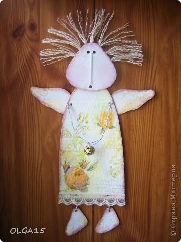 Ангелочки из упаковочного картона. Ручки  из проволоки. фото 6
