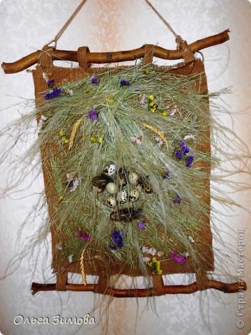 Это панно выполнено полностью из природного материала.Процесс изготовления очень простой. Главное иметь заготовки сухих трав, цветов.А там, каждый включает фантазию и понеслось...... фото 17