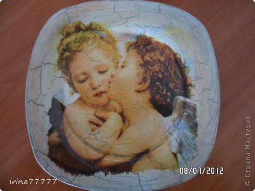 Это работа над ошибками, Делала тарелочку с ангелами  и попробовала кракле на ПВА (из интернета). Учла все промахи и вот что получилось! Дешево и сердито, без специальных средств для кракле. фото 1