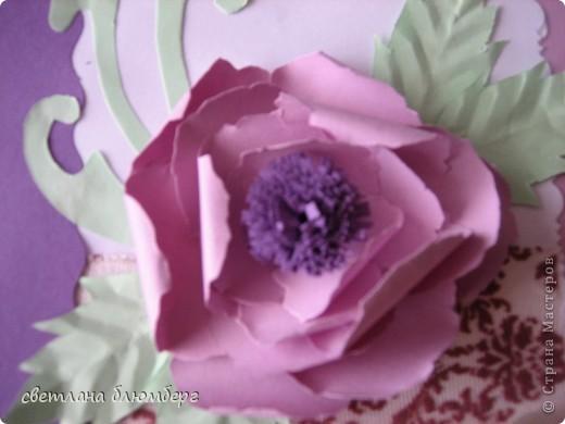 Здравствуйте,дорогие мастерицы! Вот такая у меня получилась нежно голубая фиолетовая открыточка. фото 2