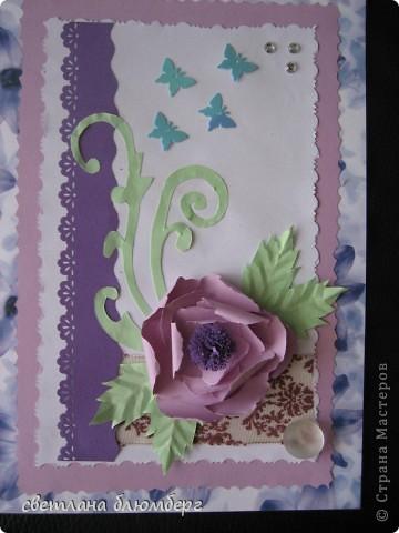 Здравствуйте,дорогие мастерицы! Вот такая у меня получилась нежно голубая фиолетовая открыточка. фото 1