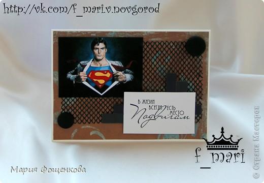 """Участвовала в одном задании, согласно которому надо было создать что-то """"под вдохновением от картинки или скриншота из фильмов(мультиков) про супергероев"""". Меня на это задание вдохновил Супермен.  И вот такая открытка у меня получилась (размер 13,5 на 9,5 см)"""