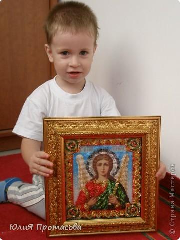 Решилась вышить образ Ангела хранителя своему сыну на два года.  фото 3