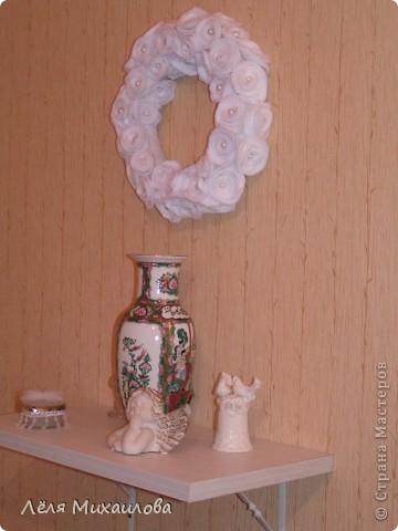 Сегодня венок из роз. Розочки изготовлены из мягкой приятной ткани - флиса. фото 7