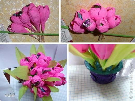 Маленький букетик на день рождение. Цветочки вставлены в основу с пластилином ) и обсыпан блестками на клей ПВА фото 2