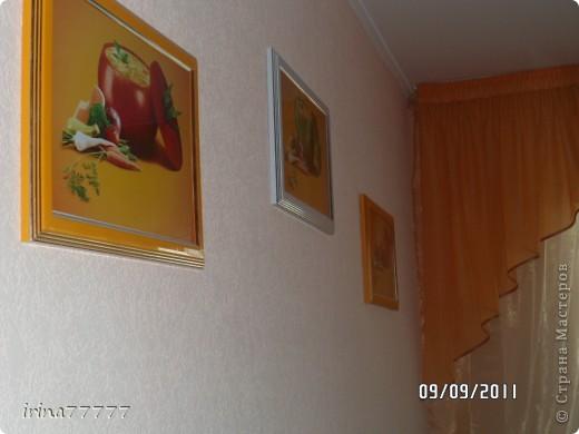 Хочу поделиться своей идеей! Подбирала картинки на свою кухню, а в магазинах не нашла подходящее. Вот и решила. что  сделаю  сама, нашла в интернете  картинки в одной теме и подходящие по цвету, в фотоателье распечатала на бумаге формата А4, купила рамочки для фото - вот результат! таких картинок точно нет  ни у кого)))  и получился очень бюджетный вариант! фото 1