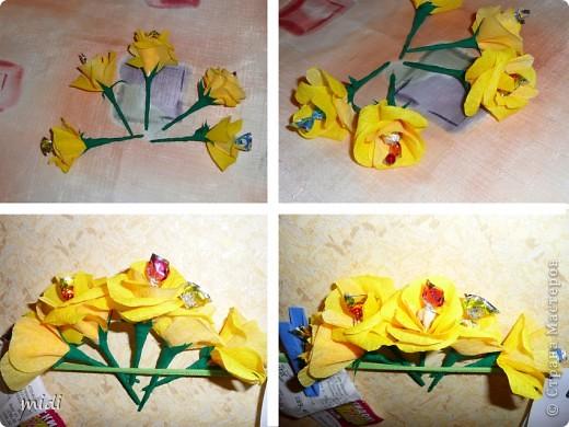 Маленький букетик на день рождение. Цветочки вставлены в основу с пластилином ) и обсыпан блестками на клей ПВА фото 3