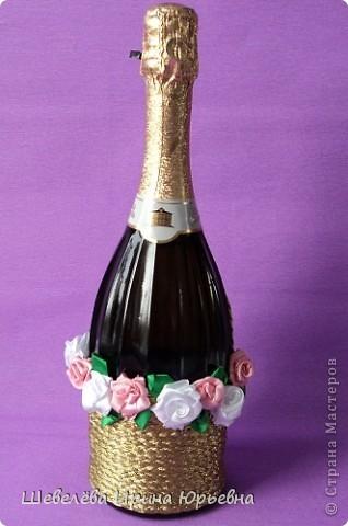 Очень понравилась идея http://stranamasterov.ru/node/298019  Попробовала сделать, а получилось, что эту бутылочку разыграли на свадьбе (номер свидетельства о браке). фото 5