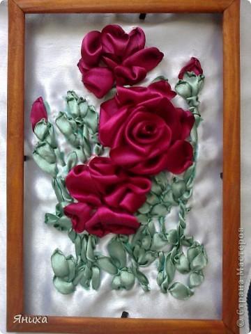 Одна из первых моих работ по вышивке лентами. фото 16