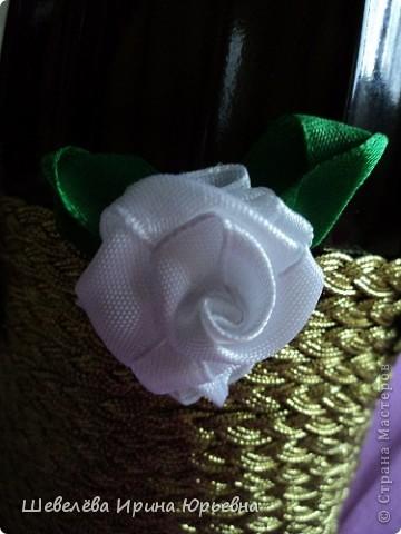 Очень понравилась идея http://stranamasterov.ru/node/298019  Попробовала сделать, а получилось, что эту бутылочку разыграли на свадьбе (номер свидетельства о браке). фото 4
