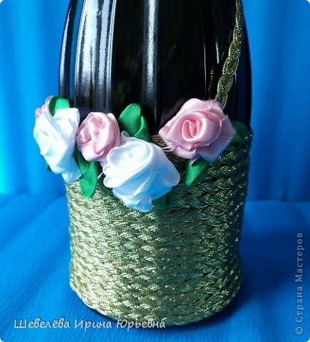 Очень понравилась идея http://stranamasterov.ru/node/298019  Попробовала сделать, а получилось, что эту бутылочку разыграли на свадьбе (номер свидетельства о браке). фото 1
