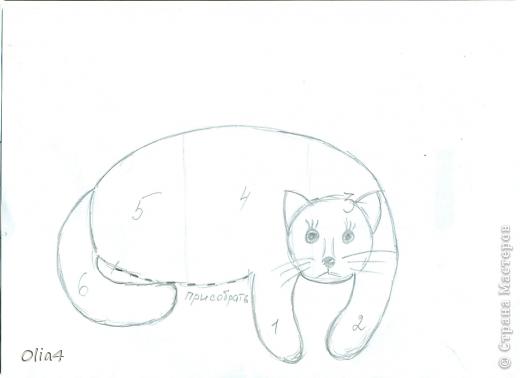 Интерьерная кошка-подушка  с выкройкой фото 2