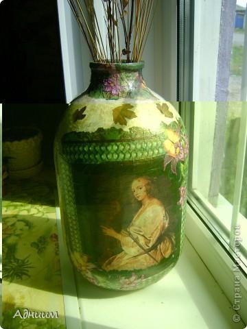 Чужая идея по поводу перевоплощения 10-ти литровой банки в вазу-в моём исполнении.И очень нуждаюсь в критике этой работы. фото 1