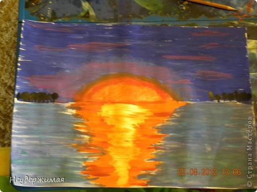 """Общий рисунок (все рисунки рисовали вместе с Неадекватной)))) """"Вечерний закат на море"""" фото 1"""