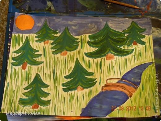 """Общий рисунок (все рисунки рисовали вместе с Неадекватной)))) """"Вечерний закат на море"""" фото 2"""
