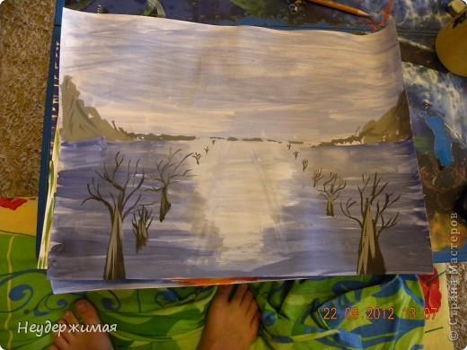 """Общий рисунок (все рисунки рисовали вместе с Неадекватной)))) """"Вечерний закат на море"""" фото 4"""