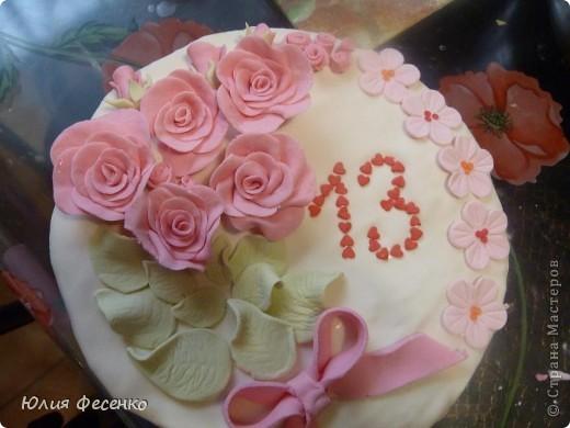 Тортик на День рождения дочери.Украшала мастикой из маршмеллоу. фото 1