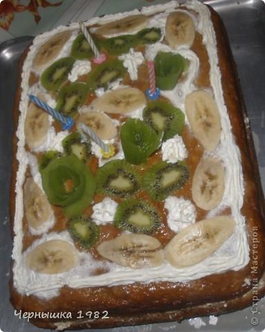 Для приготовления торта необходимо: 5 бананов размять вилкой,  добавить 2 яйца,  0,5 ст. сахара,  0,5 пачки маргарина,  1,5 ст. муки,  50 гр. орехов,  0,5 ч.л. соды погасить 1 ст.л. кефира.  Вымесить тесто, выложить его в смазанную жиром форму и выпекать до готовности. Готовый пирог украсить дольками банана и посыпать сахарной пудрой.  фото 1