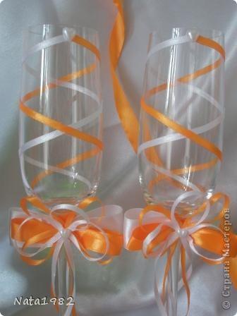 Набор делался быстро. По заказу клиента - только ленты. Сочетание белого и оранжевого.  фото 2