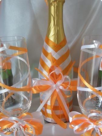Набор делался быстро. По заказу клиента - только ленты. Сочетание белого и оранжевого.  фото 7
