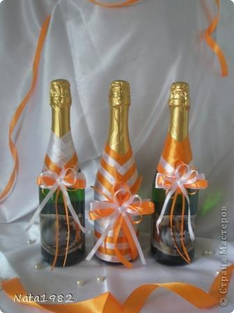 Набор делался быстро. По заказу клиента - только ленты. Сочетание белого и оранжевого.  фото 6