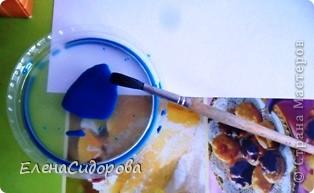Увидела в Интернете необычную и новую для себя технику изображения - аэрография. Решила попробовать. Для этого мне понадобились: листья разной формы (засушенные или проглаженные утюгом), лист бумаги, акварель, зубная щетка, зубочистка, крышечка от банки сметаны (для приготовления колера). фото 2
