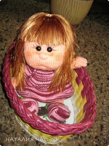 Вязание спицами - Первая вязанная кукла-пупс.