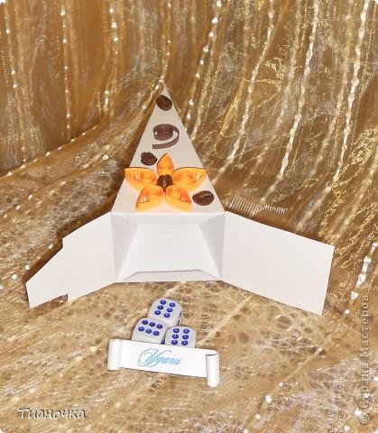 здравствуйте, мастерицы и мастера, сегодня у меня два тортика - первый с пожеланиями на день рождения. каждый кусочек завязан коричневой ленточкой в тон (0,3мм), а к бантику звездочка приклеена фото 5