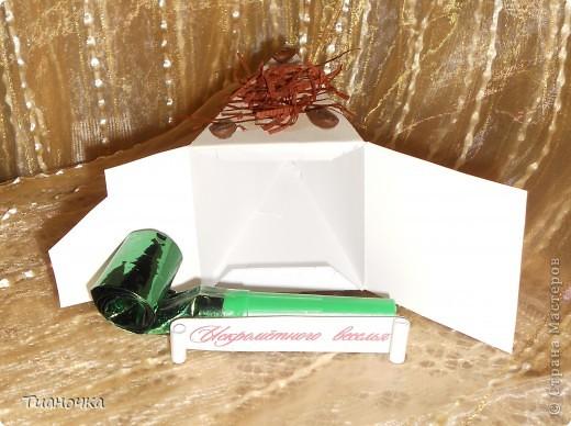 здравствуйте, мастерицы и мастера, сегодня у меня два тортика - первый с пожеланиями на день рождения. каждый кусочек завязан коричневой ленточкой в тон (0,3мм), а к бантику звездочка приклеена фото 9