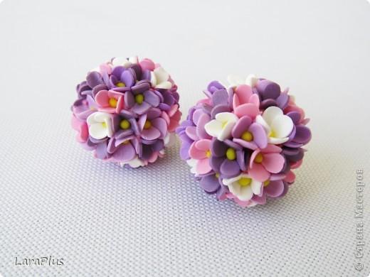 серьги цветочные шары фото 1