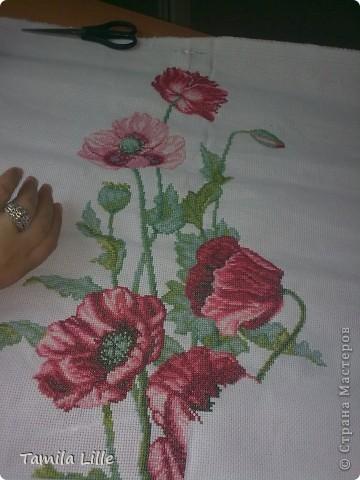 Подарила мне сестричка вышивальный набор цветов аленьких))) Вышивай, говорит, да радуйся... И прибываю я в счастие великом, на работе делом занята важным - красоту в мир привожу (иголочкой да ниточкой колдую над канвой) фото 9