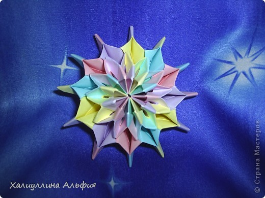 """Вот такую красивую звезду я откопала на просторах интернета. Видеоурок очень доступный и понятный, а вот и ссылка на него: http://www.youtube.com/watch?feature=player_embedded&v=p9xKxEV1FkY Вся прелесть этой поделки/игрушки в том, что она выворачивается наизнанку, возвращаясь в то же самое положение. Но при том она как бы """"замирает"""" во множестве разнообразных положений. Поэтому создается впечатление, что эта модель живет сама и дышит. Посмотрите ниже на фото, что происходит с моделью, если ее последовательно выворачивать. фото 1"""