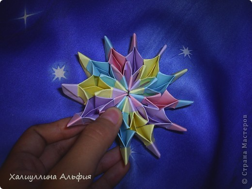 """Вот такую красивую звезду я откопала на просторах интернета. Видеоурок очень доступный и понятный, а вот и ссылка на него: http://www.youtube.com/watch?feature=player_embedded&v=p9xKxEV1FkY Вся прелесть этой поделки/игрушки в том, что она выворачивается наизнанку, возвращаясь в то же самое положение. Но при том она как бы """"замирает"""" во множестве разнообразных положений. Поэтому создается впечатление, что эта модель живет сама и дышит. Посмотрите ниже на фото, что происходит с моделью, если ее последовательно выворачивать. фото 2"""