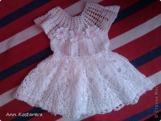 Гардероб День рождения Вязание крючком платье детское на 1 годик Бусинки Ленты Нитки фото 1.