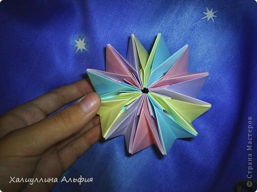 """Вот такую красивую звезду я откопала на просторах интернета. Видеоурок очень доступный и понятный, а вот и ссылка на него: http://www.youtube.com/watch?feature=player_embedded&v=p9xKxEV1FkY Вся прелесть этой поделки/игрушки в том, что она выворачивается наизнанку, возвращаясь в то же самое положение. Но при том она как бы """"замирает"""" во множестве разнообразных положений. Поэтому создается впечатление, что эта модель живет сама и дышит. Посмотрите ниже на фото, что происходит с моделью, если ее последовательно выворачивать. фото 4"""