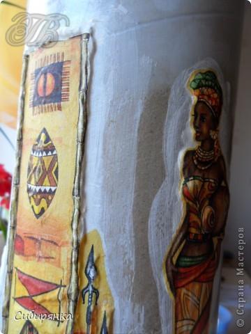 Декор предметов Мастер-класс Декупаж Кракелюр Лепка Папье-маше МК Напольная ваза своими руками Африканские мотивы Процесс Гипс Клей Материал бросовый Салфетки Фарфор холодный фото 14