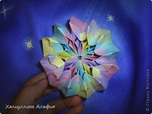 """Вот такую красивую звезду я откопала на просторах интернета. Видеоурок очень доступный и понятный, а вот и ссылка на него: http://www.youtube.com/watch?feature=player_embedded&v=p9xKxEV1FkY Вся прелесть этой поделки/игрушки в том, что она выворачивается наизнанку, возвращаясь в то же самое положение. Но при том она как бы """"замирает"""" во множестве разнообразных положений. Поэтому создается впечатление, что эта модель живет сама и дышит. Посмотрите ниже на фото, что происходит с моделью, если ее последовательно выворачивать. фото 3"""