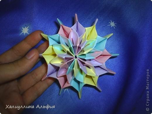 """Вот такую красивую звезду я откопала на просторах интернета. Видеоурок очень доступный и понятный, а вот и ссылка на него: http://www.youtube.com/watch?feature=player_embedded&v=p9xKxEV1FkY Вся прелесть этой поделки/игрушки в том, что она выворачивается наизнанку, возвращаясь в то же самое положение. Но при том она как бы """"замирает"""" во множестве разнообразных положений. Поэтому создается впечатление, что эта модель живет сама и дышит. Посмотрите ниже на фото, что происходит с моделью, если ее последовательно выворачивать. фото 8"""